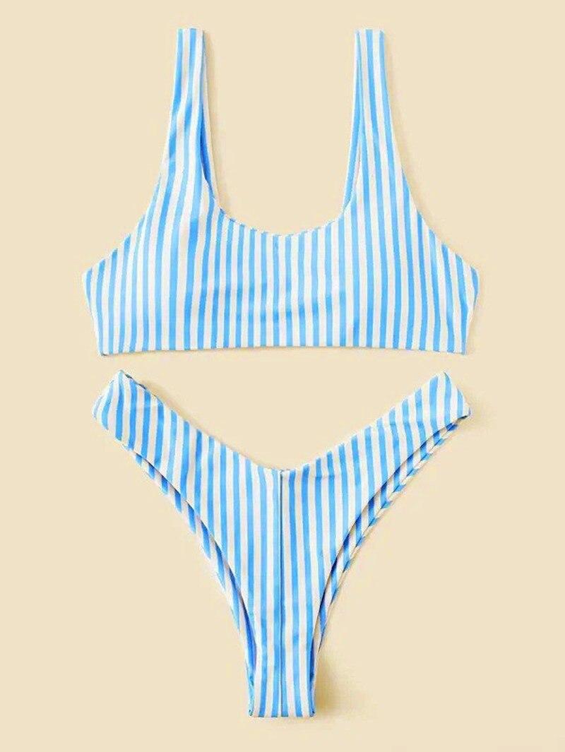 Sıcak çizgili mayo Set kadınlar bandaj mayo 2020 yeni Push Up mikro mayo brezilyalı tanga seksi mayo kadınlar Bikini