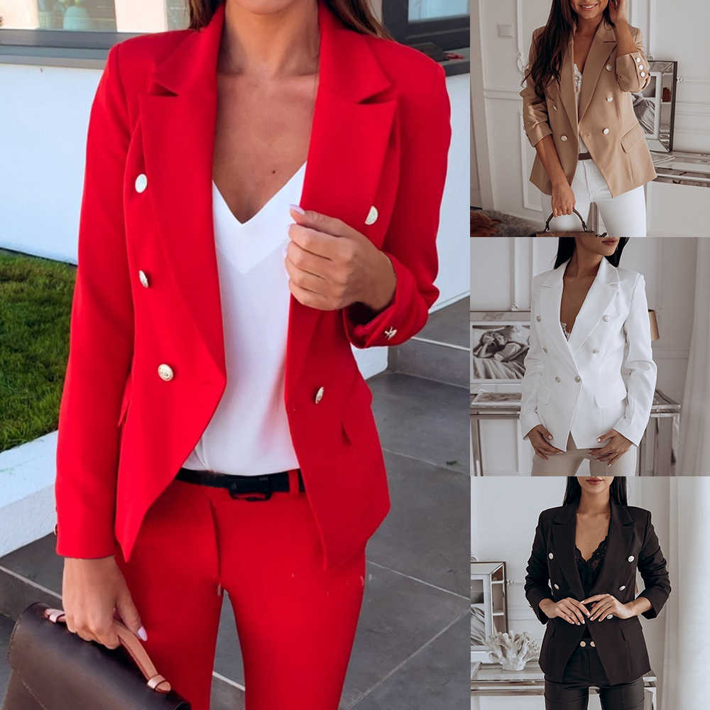 Womens Long Sleeve Blazer Suit Coat Office Work Ladies Formal Suit Jacket Double Breasted Thin Outwear Jacket Plus Size 3XL Tops