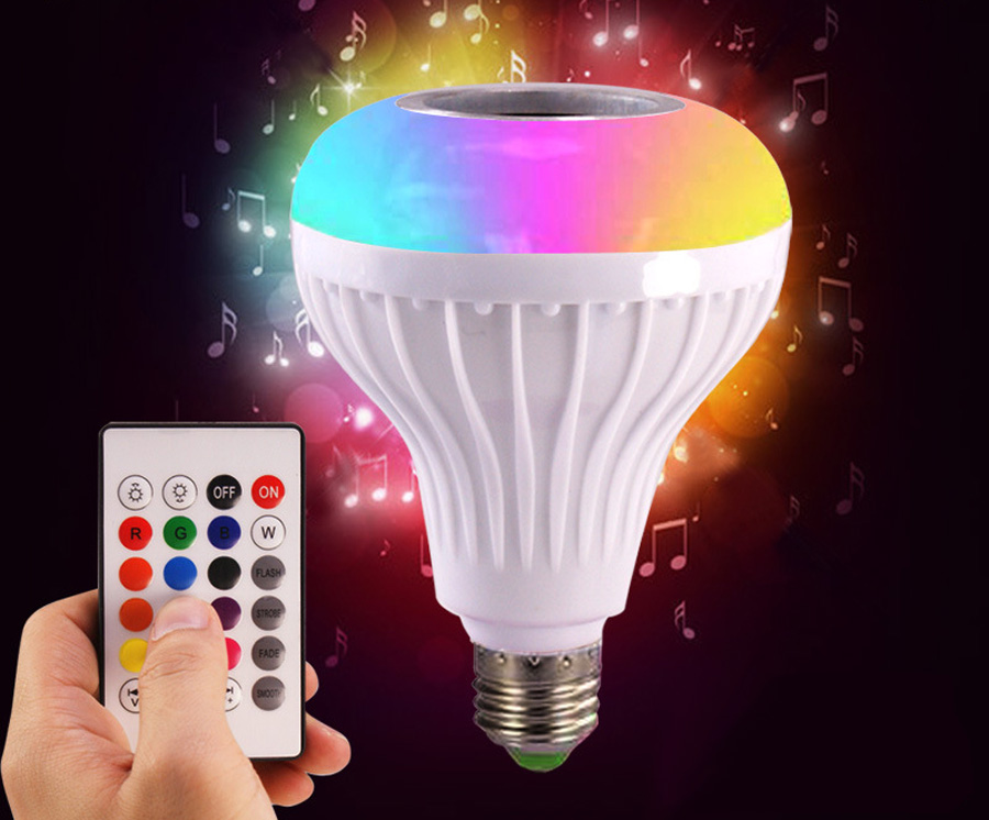 Smart E27 RGB Bluetooth Speaker LED Bulb Light 12W Music Playing Dimmable Wireless Led Lamp with 24 Keys Remote Control (8)