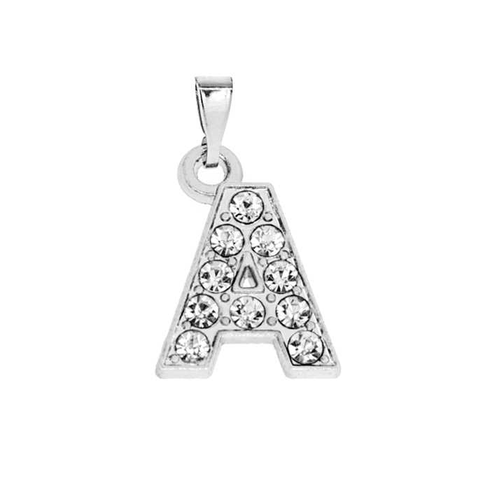 1pc A-Z 15mm x15mm Silver clear Rhinestone hang letters necklace pendant Fit Pet Collar chain women Jewelry making