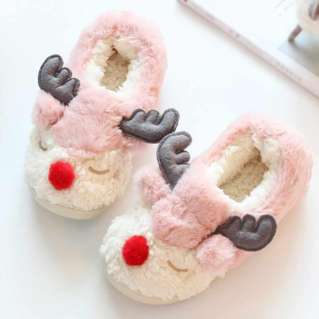 Cartoon schapen Winter cooton bont warme thuis slippers Indoor huis Mute Leuke Zachte roze slippers Pluche Bal Vrouwen Interieur Laarzen