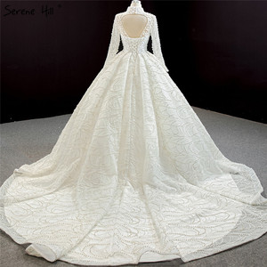 Image 2 - Luxury Ivory High Neck Sexy Plus Size Wedding Dresses 2020 Long Sleeves Beading Pearls Bridal Gowns BHM67129 Couture Dress