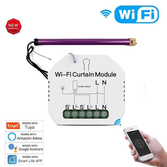 WiFi 미니 스마트 커튼 스위치 모듈 롤러 블라인드 셔터 AC 모터 스마트 라이프 Tuya, 원격 제어 Alexa Google Assistant