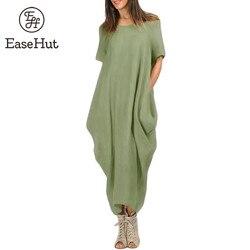 Easehut mulheres maxi vestido o pescoço bolso verão solto casual baggy robe plus size 5xl feminino retro vestidos longos mujer