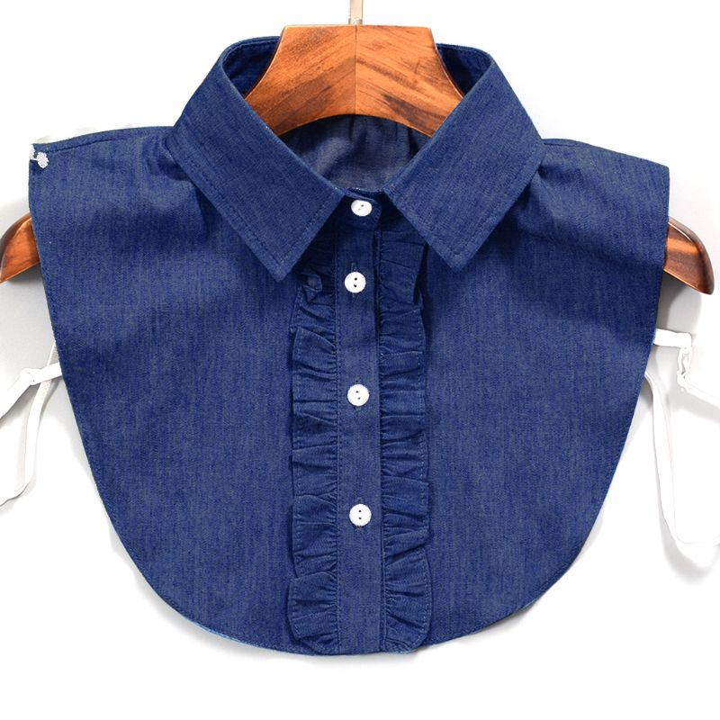 Fashion Detachable Stripe Denim Lace Fake Collar Shirt Tie Lapel Blouse Top Women Clothes Accessories