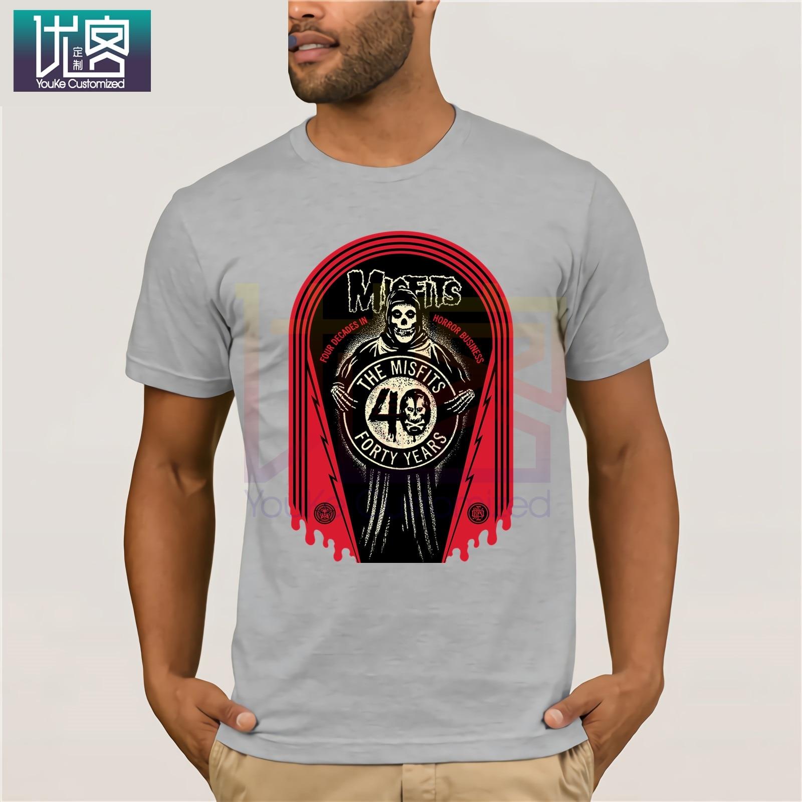 FUNNY MUSIC Mens Short Sleeve Cotton T-Shirts Misfits-40th-Anniversary-Logo Shirt