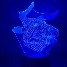 цены Led Night Light Animal Bull Light for Children Room Night Light 7/16 Colors Changing Birthday Gift For Kids 3D Lamp Nightlight