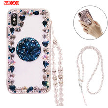 Funda de teléfono de lujo 3D Bling Diamond con soporte de brillo de agarre para IPhone 5 6S 7 8 Plus X XR XS Max cristal collar correa cubierta(China)