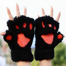 Las mujeres adorable garra de gato pata de La felpa guantes caliente suave de la felpa cortos sin dedos suaves de oso gato guantes traje mitad Mitad de dedo negro Beige