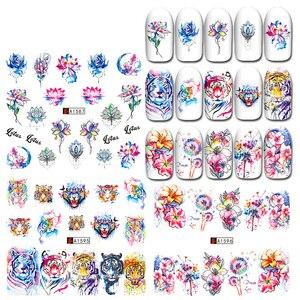 1PC nowy projekt pisanka paznokci naklejka artystyczna królik kreskówka kwiaty DIY woda naklejka Manicure znak wodny tatuaż suwak folia do paznokci