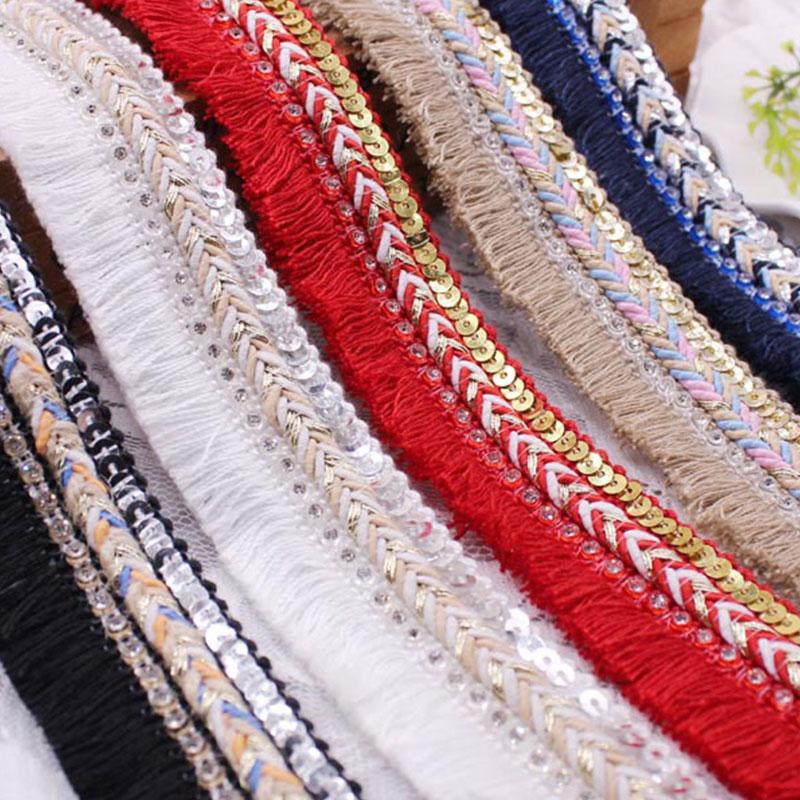3cm genişlik dikiş pamuk saçak püskül kenar dantel kordon örgülü pullu yapay elmaslı kurdele dikiş 1 Yard DIY elbise aksesuarları