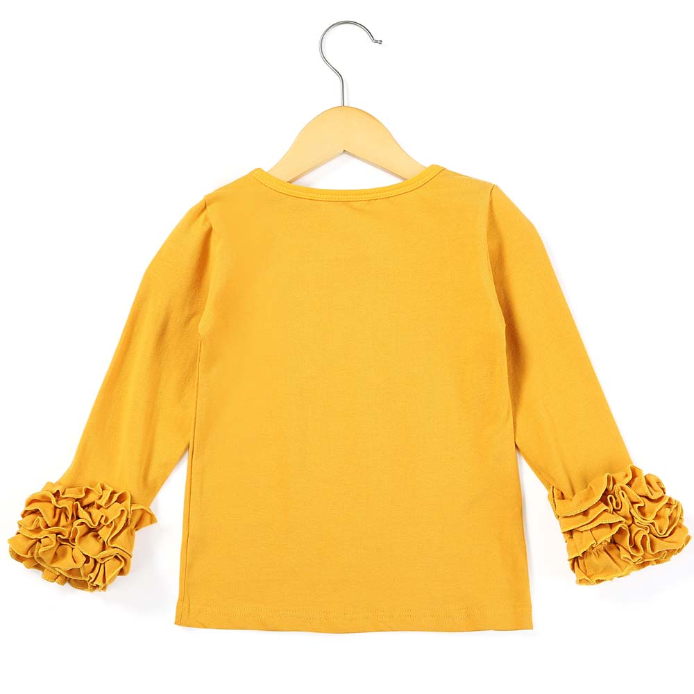 Toddler Kids Baby Girls Long Sleeve Ruffles Candy Color T Shirts Multicolor 9