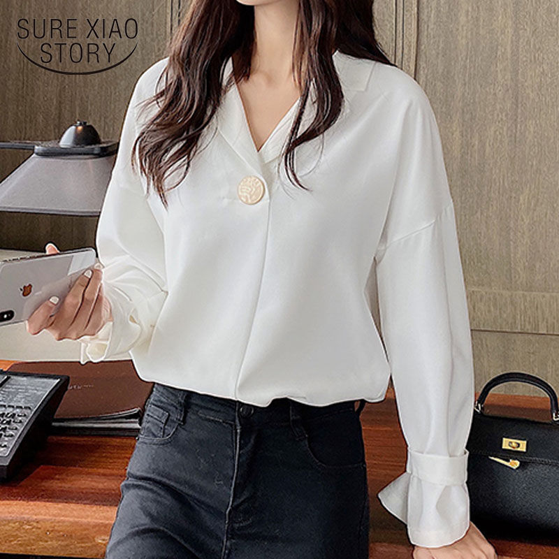 Korean Vintage Top Female Sweet Long Sleeve Chiffon Blouse Autumn New Office Lady Style Women' Shirts White Blusas Mujer <font><b>10697</b></font> image