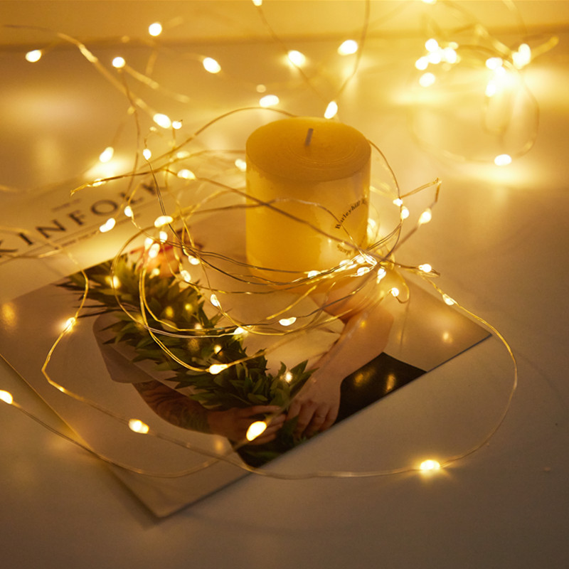 LED String Lights Silver Wire Garland Powered by 5V Battery USB Fairy light christmas decorations for home new Year decoration