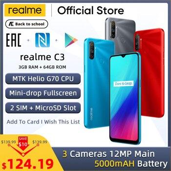 Перейти на Алиэкспресс и купить Realme C3 Мобильный телефон 5000 мАч аккумулятор 3 Гб RAM 64 Гб ROM Helio G70 процессор 12MP AI двойная камера HD мини-капля полноэкранный NFC