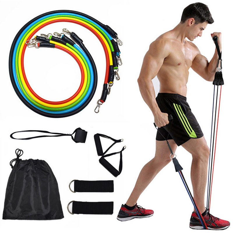 11Pcs Latex Resistance Set Band Exercise Workout Yoga Crossfit Pilates NEW