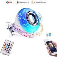 Умная E27 RGB Bluetooth Колонка Светодиодная лампа 12 Вт музыка игра диммируемая Беспроводная Светодиодная лампа с 24 клавишами дистанционного упра...