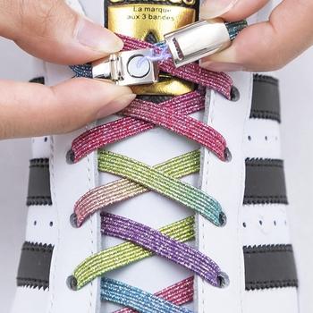 1 para sznurowadła magnetyczne elastyczny kolorowy płaski but sznurowadła bez krawata sznurowadła dla dzieci trampki dla dorosłych leniwy sznurowadła rozmiar uniwersalny buty tanie i dobre opinie YuanXiangZhu Stałe Magnetic Shoelaces T9-3 Poliester 100cm 0 7cm 0 2cm No Tie shoe laces Elastic Locking ShoeLace Colorful shoelace