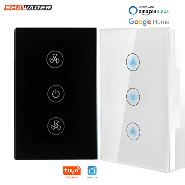 Smart Fan Switch In Wall Speed Control Wifi Enabled Variable Ceiling Touch Glass Panel Remote by Alexa Google Home Assistant