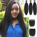 Кудрявые прямые пряди с фронтальной перуанское мелирование волос пряди с фронтальной Mayfair-Реми человеческие волосы пряди с фронтальной