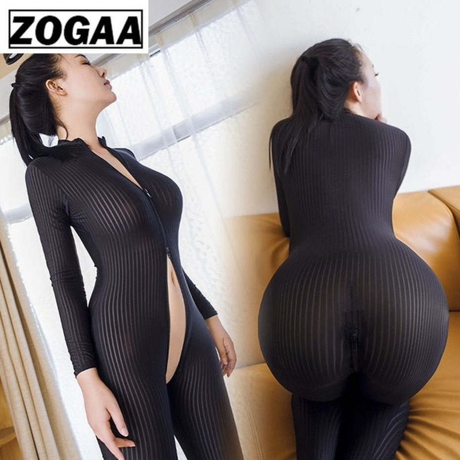 ZOGAA Dame Black/White Striped Sheer Sexy Bodysuit Smooth Fiber 2 Zipper Long Sleeve Jumpsuit Rave Festival Clothing Bodysuit