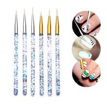 Rakodo Nail linia artystyczna pędzle malarskie kryształ akrylowy cienki Liner pióro do rysowania narzędzia do manicure żel UV tanie tanio plastic As picture MM6299