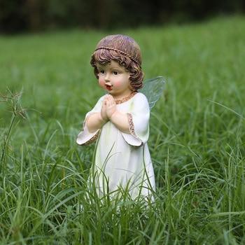America Style Resin Prayer Girl  Figurines Home Furnishing Fairy Crafts Garden Decoration Angels Baby Handicraft Ornament