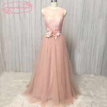 real bridesmaid dresses pink blush lace sheer crew neckline sashes belt flowers tulle long wedding guest party dress