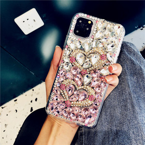 Image 2 - For iPhone 12 Cover Gradient Full Bling Crystal Diamond Love Heart Phone Case For iPhone 11 Pro Max XS XR X 8 7 6S Plus SE 2020