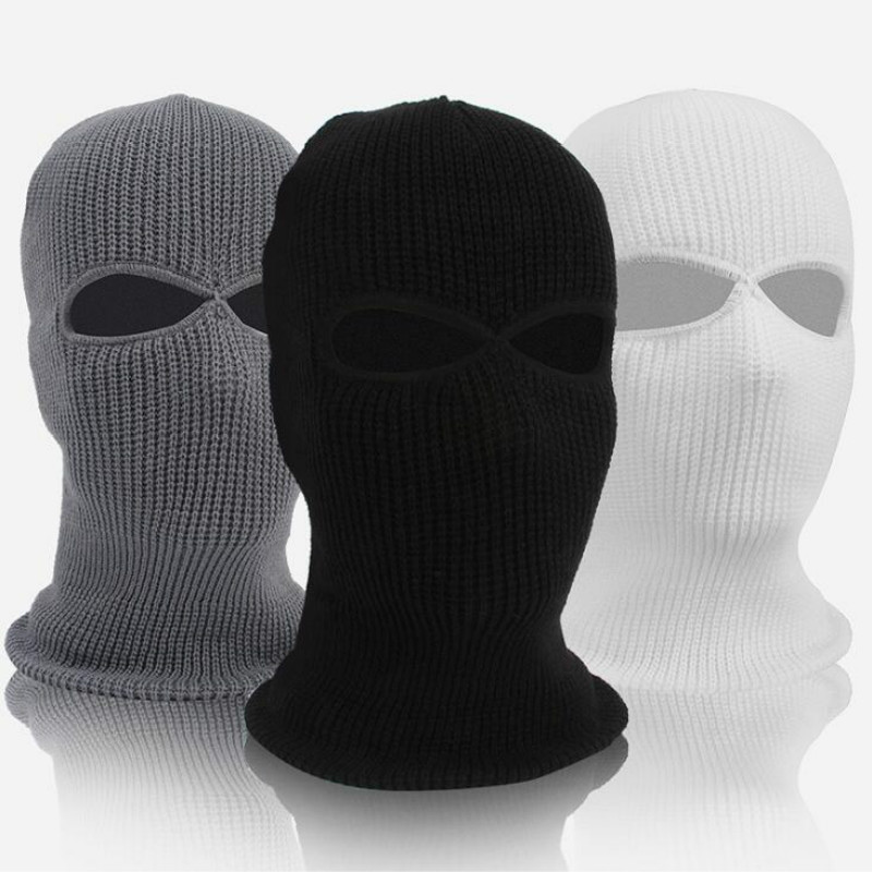 Winter Balaclava 2/3 Hole Full Face Mask Cap Knitting Motorcycle Face Shield Outdoor Riding Ski Mountaineering Head Cover