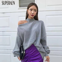 SuperAen Korean Off Shoulder Pullovers Sweater Women 2019 Autumn and Winter New Irregular Ladies Sweater Solid Color Knit Tops