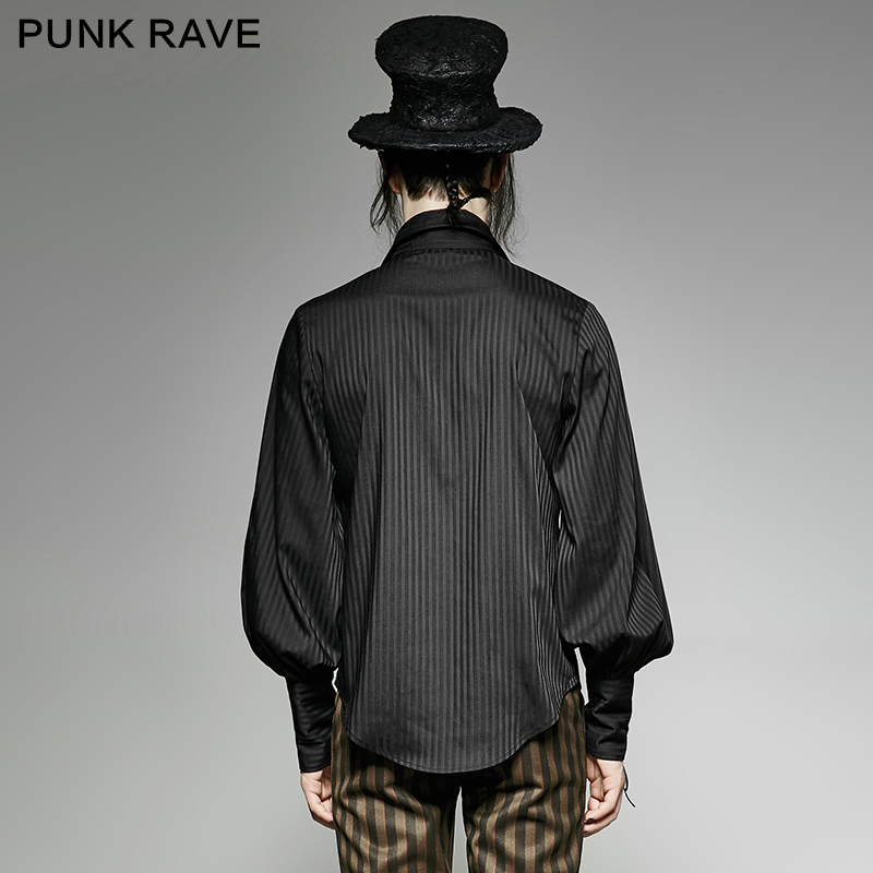 Discount§Striped Shirt Steampunk Blouse Full-Sleeve Men's Fashion The-Rope-Cuff Party-Club Noble-Tie