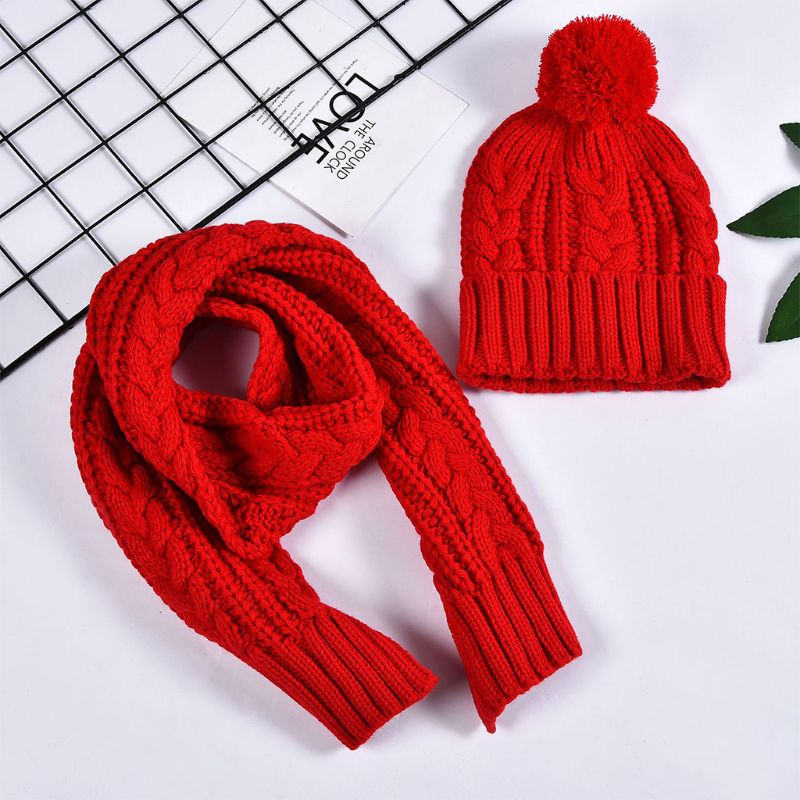 Women Winter Chunky Braided Cable Knit Hat Scarf Set Cuffed Beanie Cap Shawl
