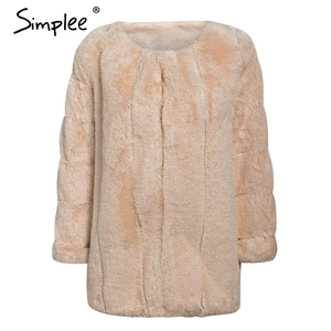 Image 3 - Simplee Thick streetwear women faux fur coat Luxury autumn winter female warm overcoats Plus size 5XL ladies furry jackets 2019
