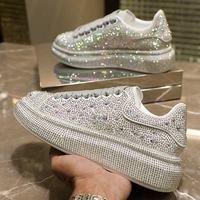2021 Autumn Women's Shoes New Full Diamond Platform Sneakers Brand Designer FemaleSports White Shine with Rhinestone Shoes 1