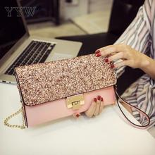 Designer Pink Women Glitter Sequins Envelope Evening Bag Handbag Party Bridal Clutch Purse Large Wedding New Sac Pochette Femme