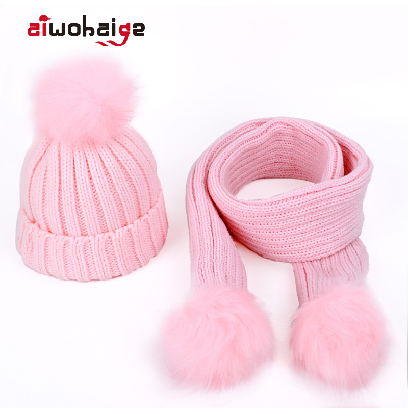 2019 New Fashion Children's Knit Beanies Hat Scarf 2 Pieces Set Solid Color Winter Boy Girl Pompom Soft Cap Scarves Baby Kids