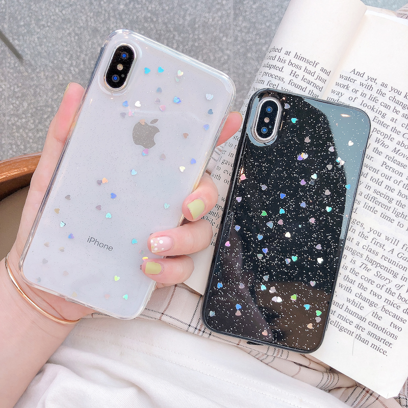 Hbeca77fd32714ca99b1c8d2816c06da8L - Ottwn Glitter Phone Case For iPhone 11 Case 11 Pro XS Max XR X 6 6s 7 8 Plus Love Heart Star Sequins Soft Bling Clear Cover Capa