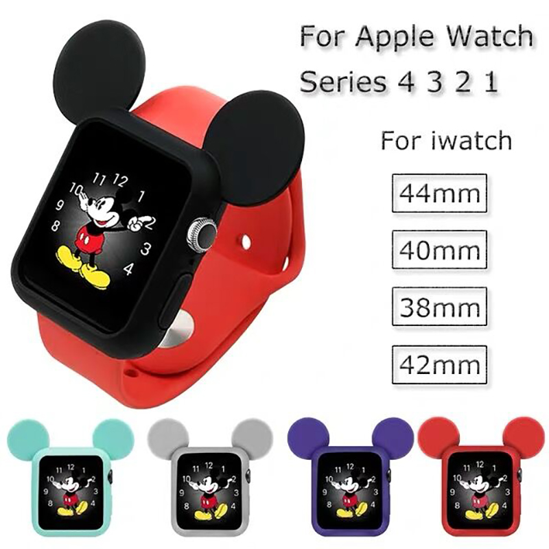 Cute Cartoon Protector Case Cover For Apple Watch 4/3/2/1 40mm 44mm 42mm 38mm IWatch Band Soft Screeen  Protective Shell