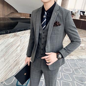( Jacket + Vest + Pants ) Boutique Fashion Mens Plaid Casual Business Suit High-end Social Formal Suit 3 Pcs Set Groom Wedding 12