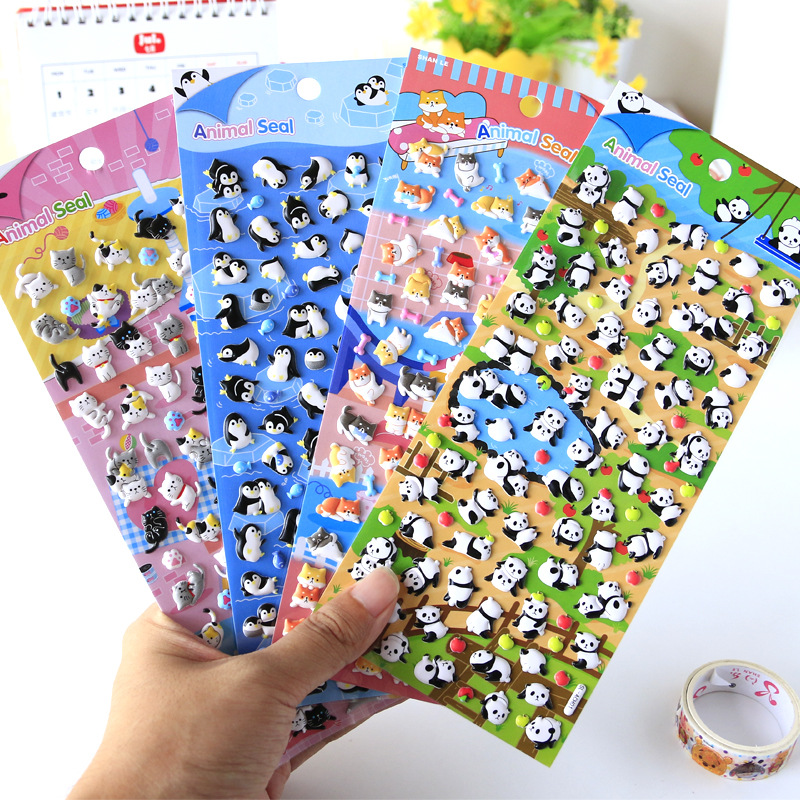 Cute Animal Foam Penguin Panda Shiba 3D Decorative Stationery Stickers Scrapbooking DIY Diary Album Stick Label