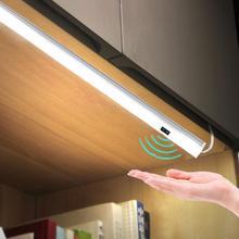 El dalga kontrol mutfak ışıkları LED çubuk ışık dolap dolap çubuğu LED lamba 30/50cm hareket sensörü el tarama süpürme mutfak ışıkları