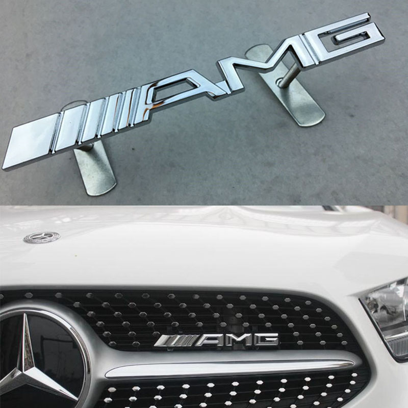 1pcs Car Styling Car Emblem Front Grille Badge Grill Sticker Labeling For Mercedes Benz AMG W204 W203 W212 W211 W124 W210 CLG