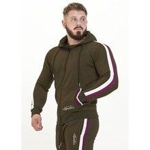 GYM WINER męski strój sportowy bluza dresowa zestawy rekreacyjne Zipper znosić 2PC sweter z kapturem + spodnie ołówkowe zestawy męskie