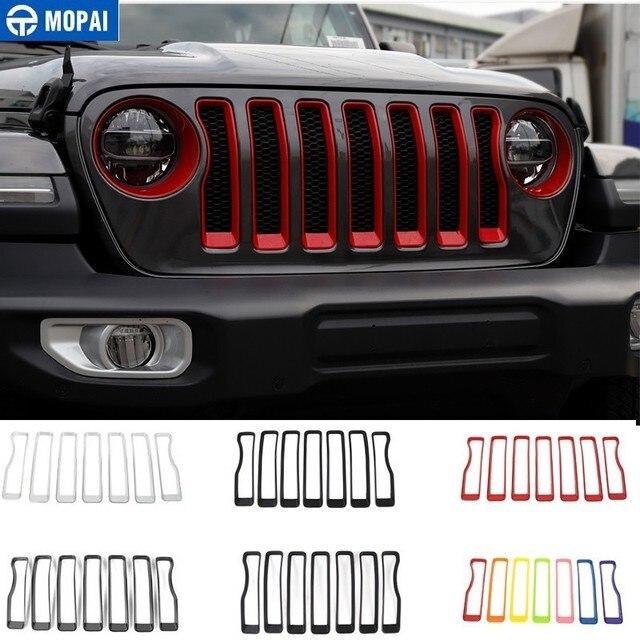 MOPAI Auto Anteriore Griglie Decorazione Della Copertura Sticker per Jeep Wrangler Sahara 2018 + Accessori Auto per Jeep Gladiatore JT 2018 +