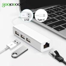 USB Ethernet Có 3 Cổng USB Hub 2.0 RJ45 LAN Card Mạng USB Ethernet Adapter Dành Cho Mac IOS Android máy Tính RTL8152 USB 2.0