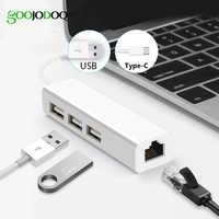 USB Ethernet con 3 puertos USB HUB 2,0 tarjeta de red Lan RJ45 adaptador USB a Ethernet para Mac iOS Android ordenador RTL8152 USB 2,0 HUB