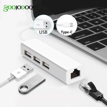 USB Ethernet z 3 portowy HUB USB 2.0 RJ45 karta sieci lan USB do adapter sieci Ethernet dla komputerów Mac z systemem iOS android pc RTL8152, HUB USB 2.0