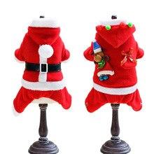 Pet Dog Christmas Costume Cute Cat Classic Santa Claus Clothes Cotton Wool S-XL