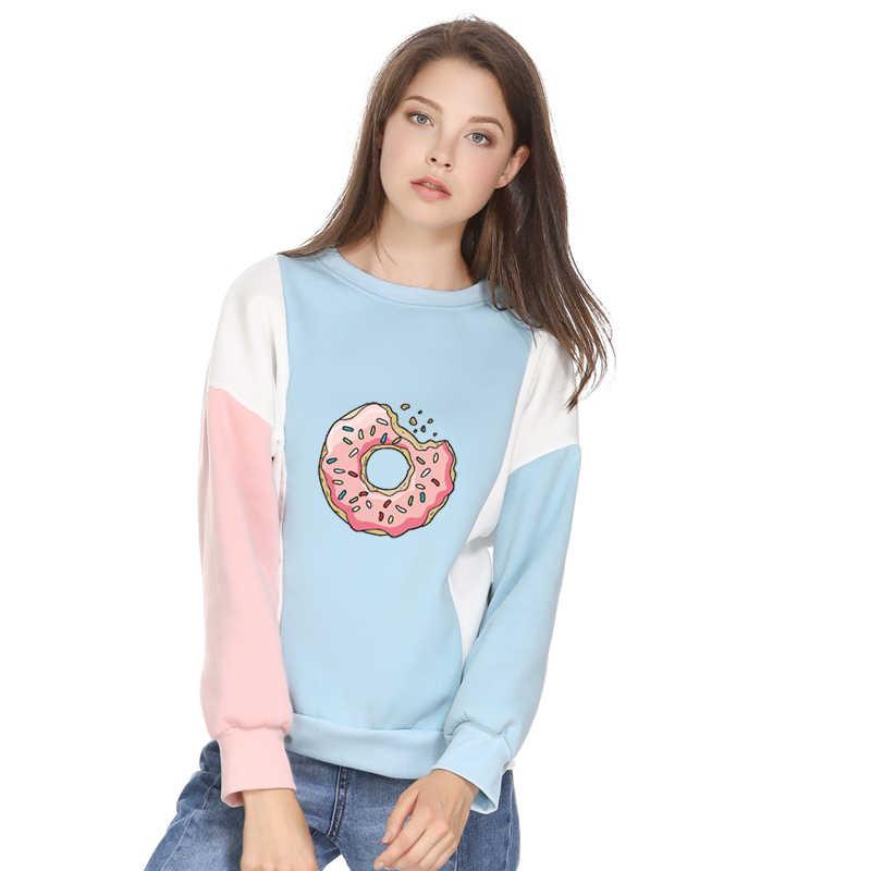 2019 New Fashion Women Sweatshirt Donuts Printing Cute Hoodies Patchwork O-Neck Winter Autumn Loose Clothing Top WWW1048